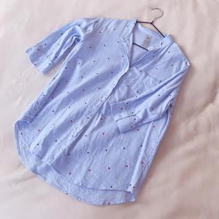 コムデギャルソン(COMME des GARCONS)のコムデギャルソン風 シャツ ブラウス スタンドカラー 水色 ブルー(シャツ/ブラウス(長袖/七分))