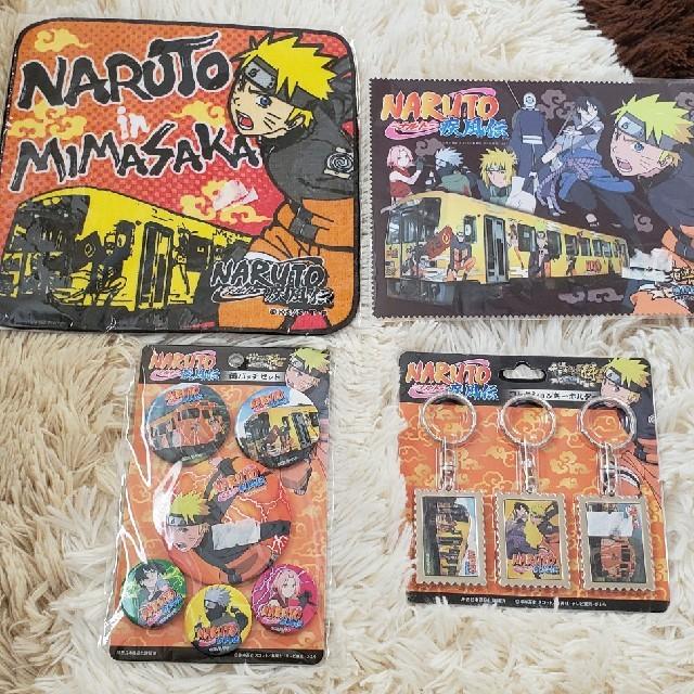 NARUTO ハンカチメガネ拭き缶バッチキーホルダーセット エンタメ/ホビーのおもちゃ/ぬいぐるみ(キャラクターグッズ)の商品写真