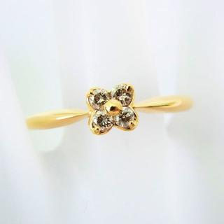 K18 ダイヤモンド フラワー リング 21号[g93-8](リング(指輪))