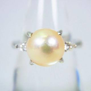 Pt900 天然アコヤ真珠(パール)ダイヤモンド リング 15号[g93-9](リング(指輪))