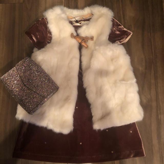 ZARA KIDS(ザラキッズ)のZARA ワンピース ファーベスト バッグ セット 90 100 新品  キッズ/ベビー/マタニティのキッズ服 女の子用(90cm~)(ワンピース)の商品写真