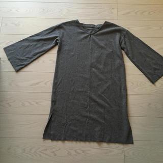 ダブルクローゼット(w closet)のダブルクローゼットw closet秋冬グレーのワンピース丈90身幅50Fサイズ(ひざ丈ワンピース)