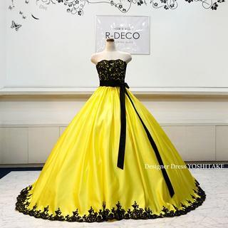 ウエディングドレス(六本ワイヤーパニエ付)レモンサイエ&黒レース 披露宴/お色直(ウェディングドレス)