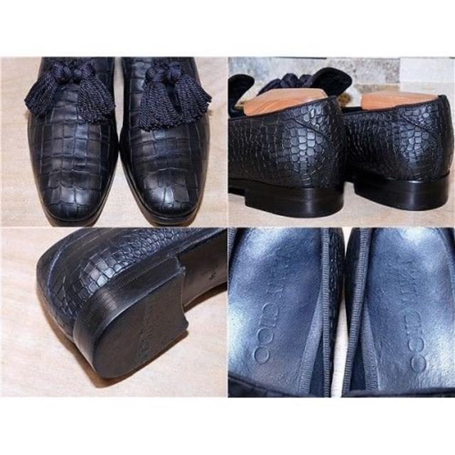 JIMMY CHOO(ジミーチュウ)のジミーチュウ 型押し タッセルローファー FOXLEY 黒 28cm メンズの靴/シューズ(スリッポン/モカシン)の商品写真