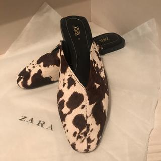 ZARA - 【ZARA♡本革 ハラコのスリッパサンダル】新品