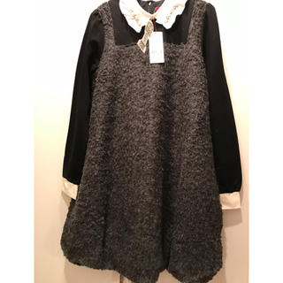 DOLLY GIRL BY ANNA SUI - ドーリーガールバイアナスイ♡白襟モコモコ トイプーワンピ 新品タグ付き