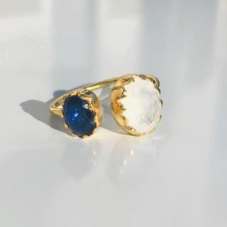 サファイア&レインボームーンストーンリング インドジュエリー(リング(指輪))