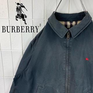 バーバリー(BURBERRY)のバーバリー 激レア 色違いロゴ ゆるだぼ 90s ノバチェック柄 スイングトップ(ブルゾン)