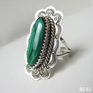孔雀石 マラカイト インディアンジュエリー シルバー 天然石 純銀製14号リング(リング(指輪))