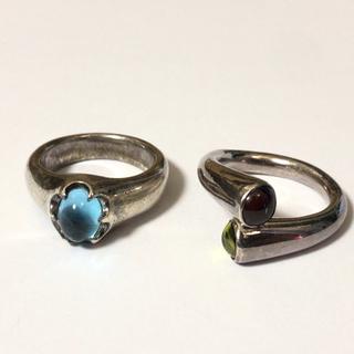 1604 シルバーリング  石付き 水色系 14号(リング(指輪))