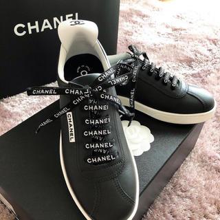 CHANEL - 美品:確実正規品 シャネル スニーカー black 24.0〜24.5cm