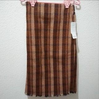 シマムラ(しまむら)の新品 しまむら チェック柄 ツイード フリンジ タイト スカート♥️M GU(ロングスカート)
