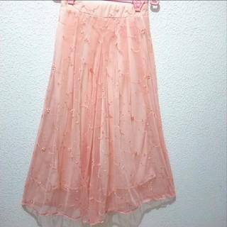 アベイル(Avail)のピンクオレンジ 刺繍 チュール ワイドパンツ♥L ハニーズ(カジュアルパンツ)