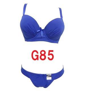 G85/LL・ネイビー◆シームレスブラジャー&ショーツ◆補正下着◆大きいサイズ(ブラ&ショーツセット)