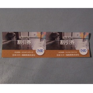 日本駐車場開発 温泉利用割引券2枚  2020/10/31迄(その他)