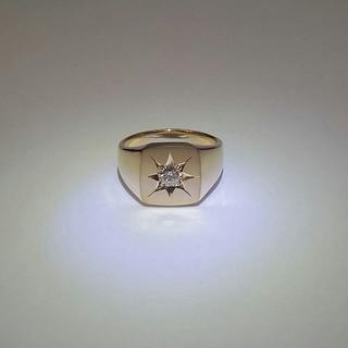 印台 K18 リング ダイヤモンド付き 18金(リング(指輪))