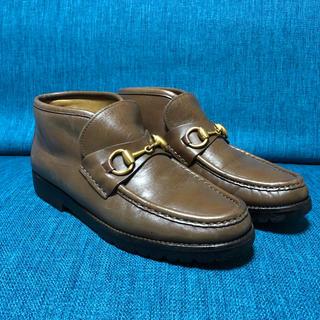 グッチ(Gucci)の美品グッチ ホースビット ショートブーツ 36Bブラウンプラダフェラガモ (ブーツ)