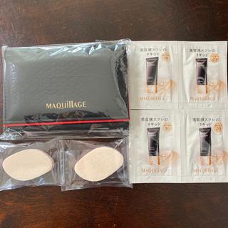 マキアージュ(MAQuillAGE)のマキアージュ あぶらとり紙(ミラー付ケース入り)とファンデ、メイクスポンジ(あぶらとり紙)