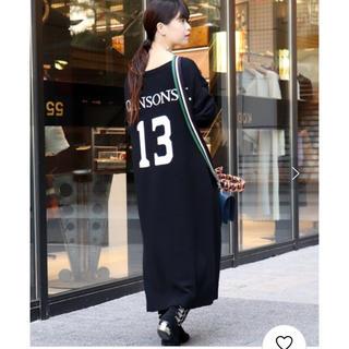 アパルトモンドゥーズィエムクラス(L'Appartement DEUXIEME CLASSE)のCITYSHOP NUMBERS KNIT DRESS ブラック 美品(ロングワンピース/マキシワンピース)