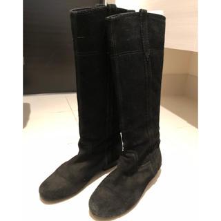 プールサイド(POOL SIDE)のプールサイド 黒スエード ロングブーツ(ブーツ)