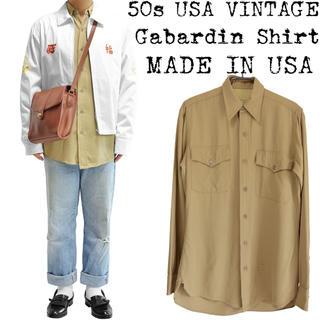 ★希少★50s USA VINTAGE★ギャバシャツ★ベージュ★14★USA製★(シャツ)