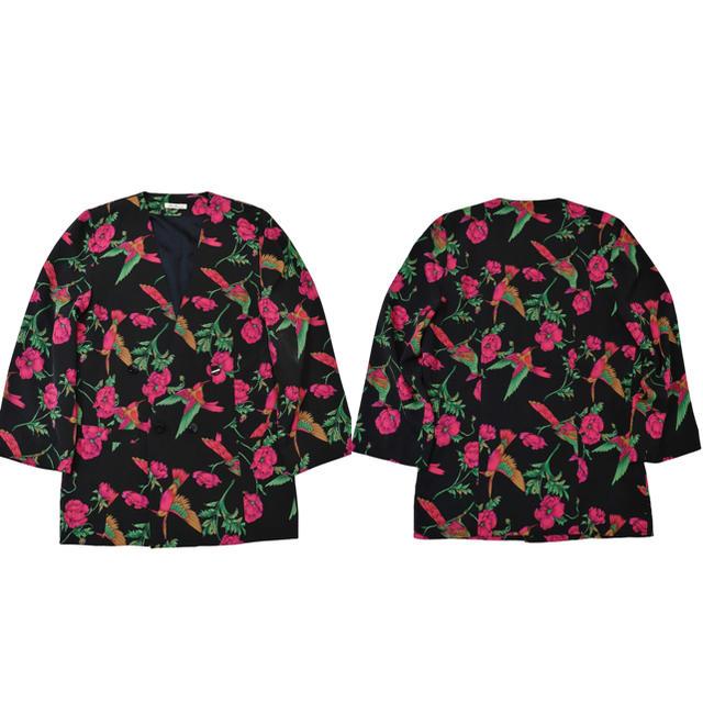 ★希少★80s〜VINTAGE★花柄 ダブルジャケット★ノーカラー★ブラック★M メンズのジャケット/アウター(テーラードジャケット)の商品写真