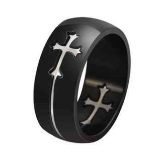 クロス 十字架 デザイン チタン リング シルバー 8号(リング(指輪))