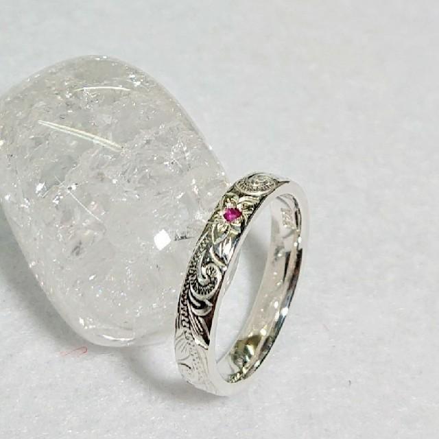 セット 販売 3㎜ルビー リング   フィッシュフック シルバー925 刻印 メンズのアクセサリー(リング(指輪))の商品写真