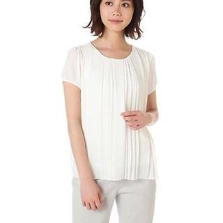 ナチュラルビューティーベーシック(NATURAL BEAUTY BASIC)のNatural beauty basic オフホワイト プリーツブラウス 半袖(シャツ/ブラウス(半袖/袖なし))