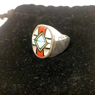 インディアン(Indian)のインディアンジュエリー ズニ族 シルバーリング 20号 直径19.4mm(リング(指輪))