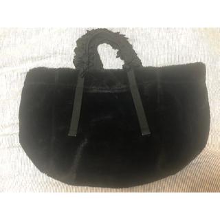 ラドロー(LUDLOW)のラドロー グレープハンドル フェイクファーバック 黒(トートバッグ)