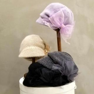 カシラ(CA4LA)のCA4LA シャンパーニュTULLE ブラック(ハンチング/ベレー帽)