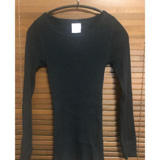 ハイク(HYKE)のhyke リブロングTシャツ ブラック(カットソー(長袖/七分))