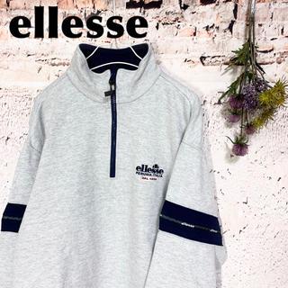 ellesse - エレッセ 90s ハーフジップ ロゴ刺繍 スウェット トレーナー