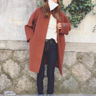 mysty woman - ウールモッサノーカラーオーバーコート