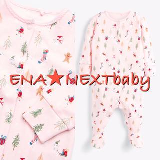 NEXT - next♡ネクスト ピンク クリスマス柄足つきロンパース
