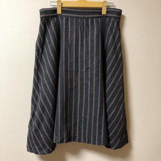 千趣会 大きいサイズ LL ストライプスカート(ひざ丈スカート)