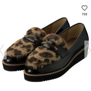 ジーユー(GU)のGU/ジーユー♡今期大人気!レオパードファーローファーLサイズ(ローファー/革靴)