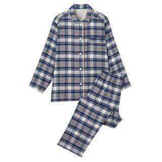 MUJI (無印良品) - 無印良品 フランネルパジャマ 上下■レディースM ネイビーチェック 綿100%