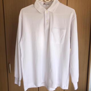 白の長袖ポロシャツ