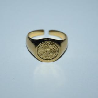 限定SALE ハワイアンジュエリー リング ゴールド ステンレス 316L 美品(リング(指輪))
