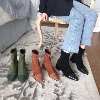 ティティベイト(titivate)の3カラー ワニのステッチ ショートブーツ スクエアブーツ ローヒール(ブーツ)
