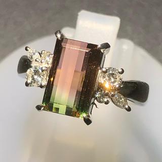 バイカラートルマリン ダイヤモンド リング 指輪 pt900 プラチナ 赤 緑(リング(指輪))