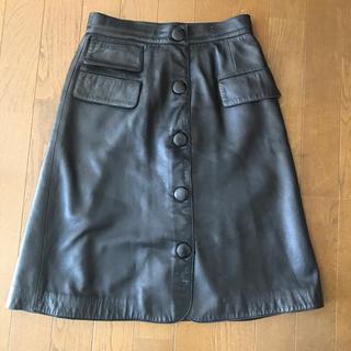 ロエベ(LOEWE)のLOEWE 革 Aラインスカート(ひざ丈スカート)