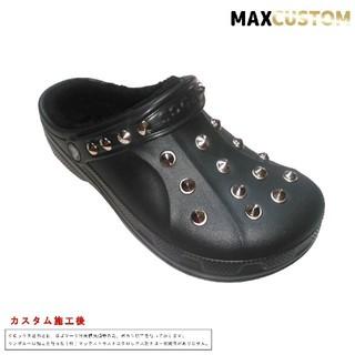 クロックス(crocs)のクロックス crocs パンク カスタム 黒 ボア付 サイズ22~28cm 新品(サンダル)