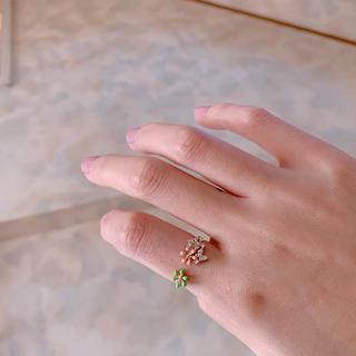 フラワー(flower)の#3 Flower ring pink×green(リング(指輪))