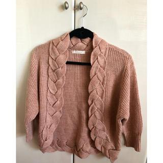 ショコラフィネローブ(chocol raffine robe)の薄ピンク ニットカーディガン(カーディガン)