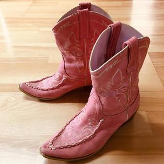 本革 革 皮 レザー ウエスタンブーツ ショートブーツ ピンク ブーツ(ブーツ)
