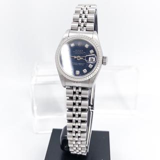 【仕上済】ロレックス 10P 新ダイヤ ネイビー文字盤 シルバー 腕時計