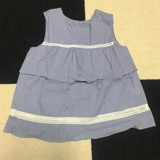 ナチュラルビューティーベーシック(NATURAL BEAUTY BASIC)の透かしレース ノースリーブブラウス 紺ストライプ(シャツ/ブラウス(半袖/袖なし))